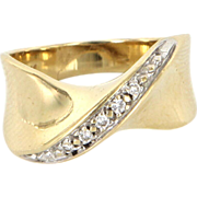 Vintage 14 Karat Yellow Gold Diamond Crossover Stack Band Ring Fine Jewelry