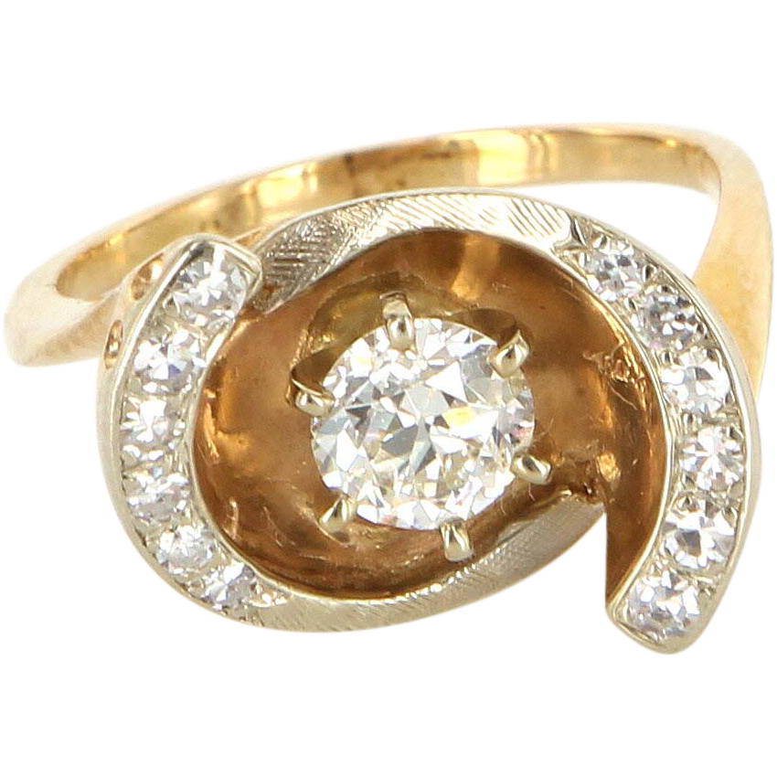Vintage 14 Karat Yellow Gold Diamond Cocktail Ring Fine Estate Jewelry Pre-Owned