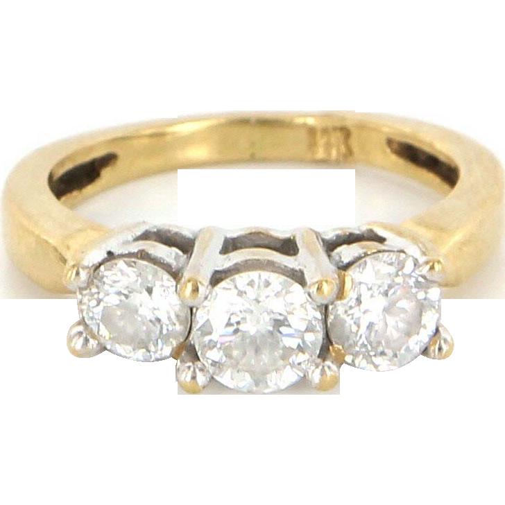 Vintage 14 Karat Yellow Gold Diamond 3 Stone Trilogy Ring Bridal Estate Jewelry