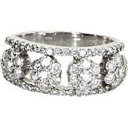 1.40ct Diamond Flower Band Ring Vintage 18 Karat White Gold Estate Fine Jewelry