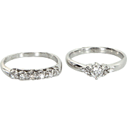 Diamond Wedding Ring Set Vintage 14 Karat White Gold Estate Bridal Jewelry Pre Owned