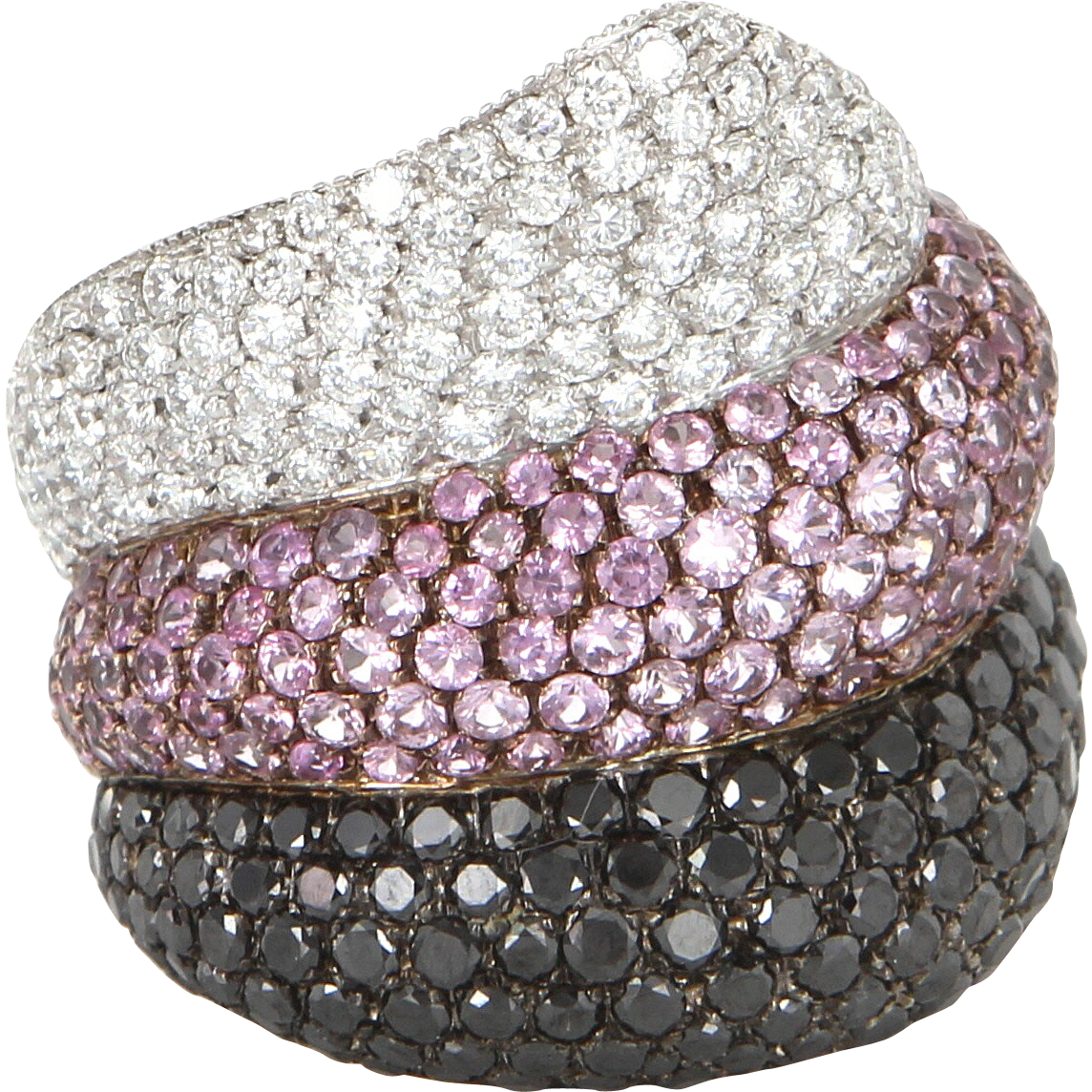 Vintage Pink Sapphire Black Diamond Wide Cigar Cocktail Ring 18 Karat White Gold 6