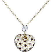 Estate Leo Pizzo Diamond Ruby Heart 18 Karat Gold Pendant Necklace Signed Fine Jewelry