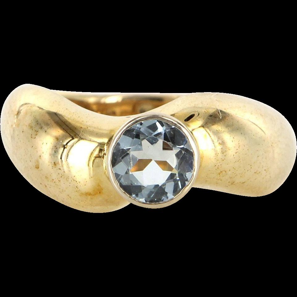 Vintage 14 Karat Yellow Gold Blue Topaz Stack Band Ring Sz 8 Fine Estate Jewelry