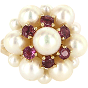 Vintage 14 Karat Yellow Gold Ruby Cultured Pearl Cluster Cocktail Ring Estate