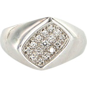 Vintage 14 Karat White Gold Diamond Mens Dress Ring Fine Estate Jewelry