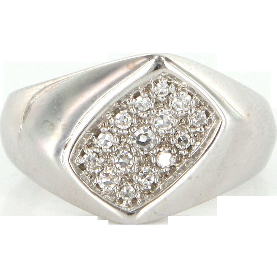 Vintage 14 Karat White Gold Diamond Mens Dress Ring Fine Estate Jewelry