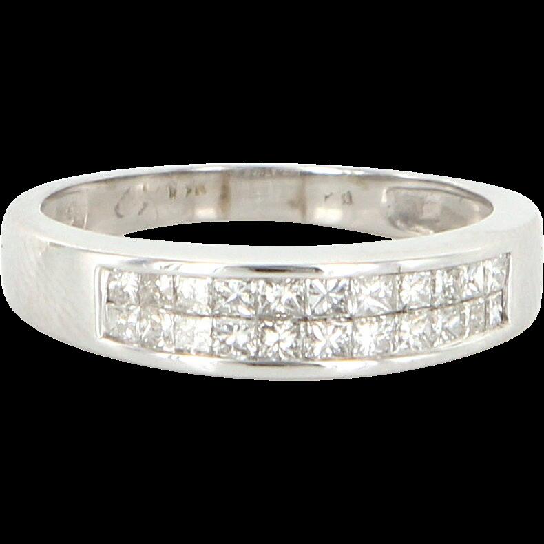 Vintage 14 Karat White Gold Diamond Wedding Stack Band Ring Fine Estate Jewelry
