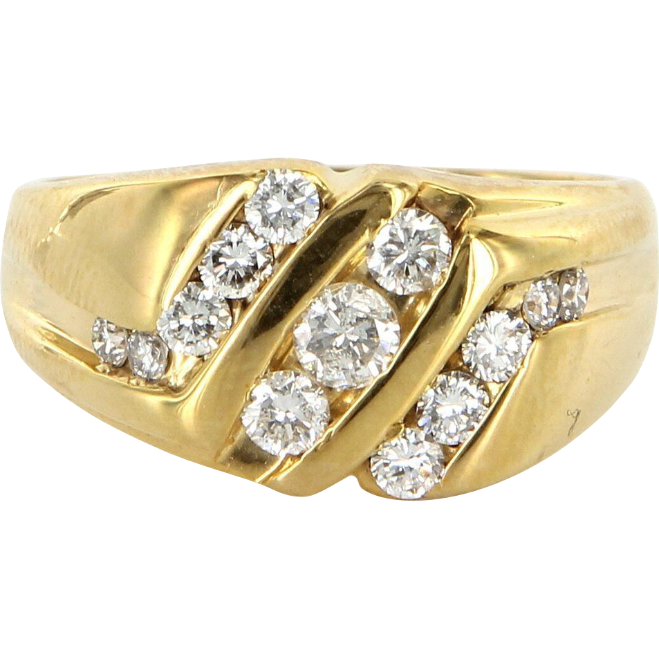vintage 14 karat yellow gold diamond mens cocktail ring. Black Bedroom Furniture Sets. Home Design Ideas