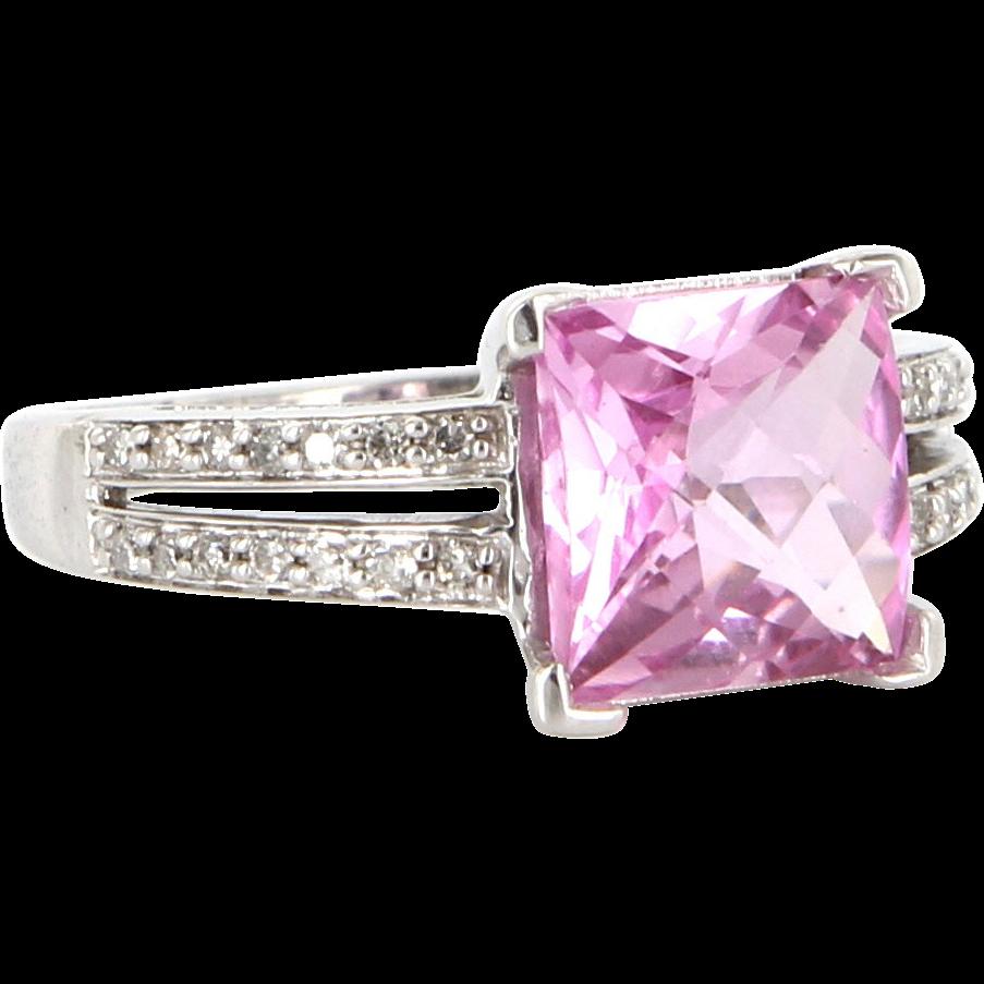 Vintage 10 Karat White Gold Diamond Pink Topaz Cocktail Ring Fine Estate Jewelry