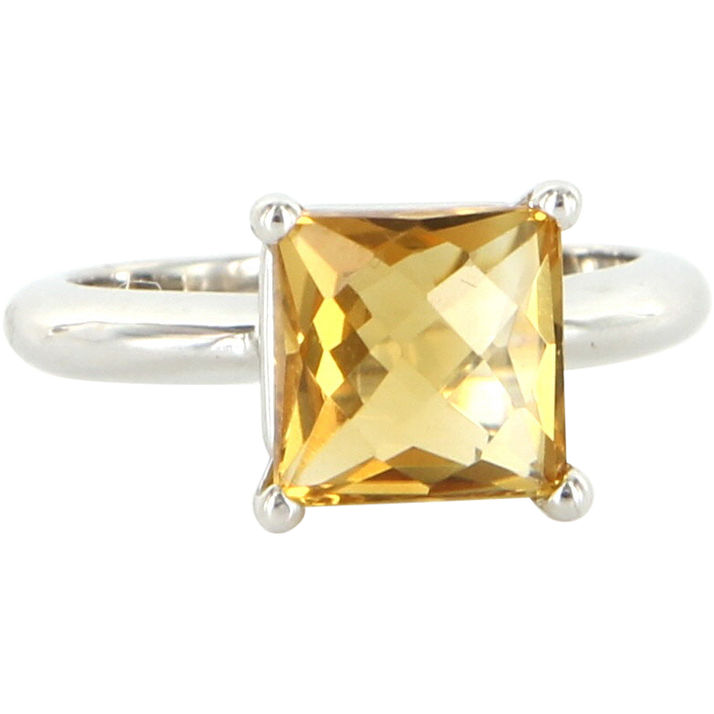 Estate 14 Karat White Gold Citrine Cocktail Ring Fine Jewelry Pre-Owned