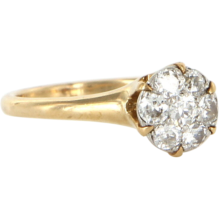 Vintage 14 Karat Yellow Gold Diamond Cluster Ring Fine Estate Jewelry Pre-Owned