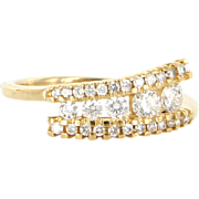 Estate 14 Karat Yellow Gold Diamond Stack Band Ring Fine Jewelry Pre-Owned