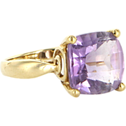 Vintage 10 Karat Yellow Gold Amethyst Square Cocktail Right Hand Ring Estate Jewelry