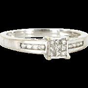 Vintage 10 Karat White Gold Diamond Square Cocktail Ring Fine Estate Jewelry