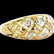 Vintage 18 Karat Yellow White Gold Diamond Two Tone Dome Cocktail Ring Estate