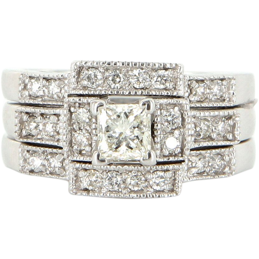 Vintage 14 Karat White Gold Princess Diamond Three Ring Wedding Set Estate