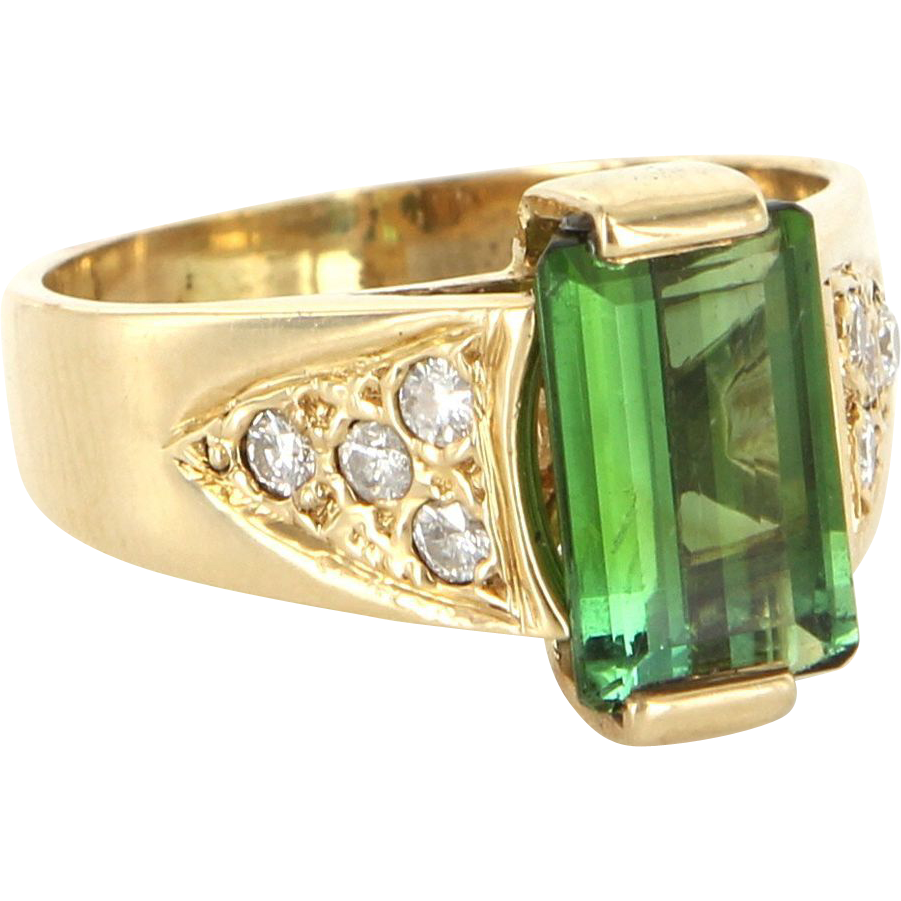 Vintage 14 Karat Yellow Gold Green Tourmaline Diamond Cocktail Ring Estate