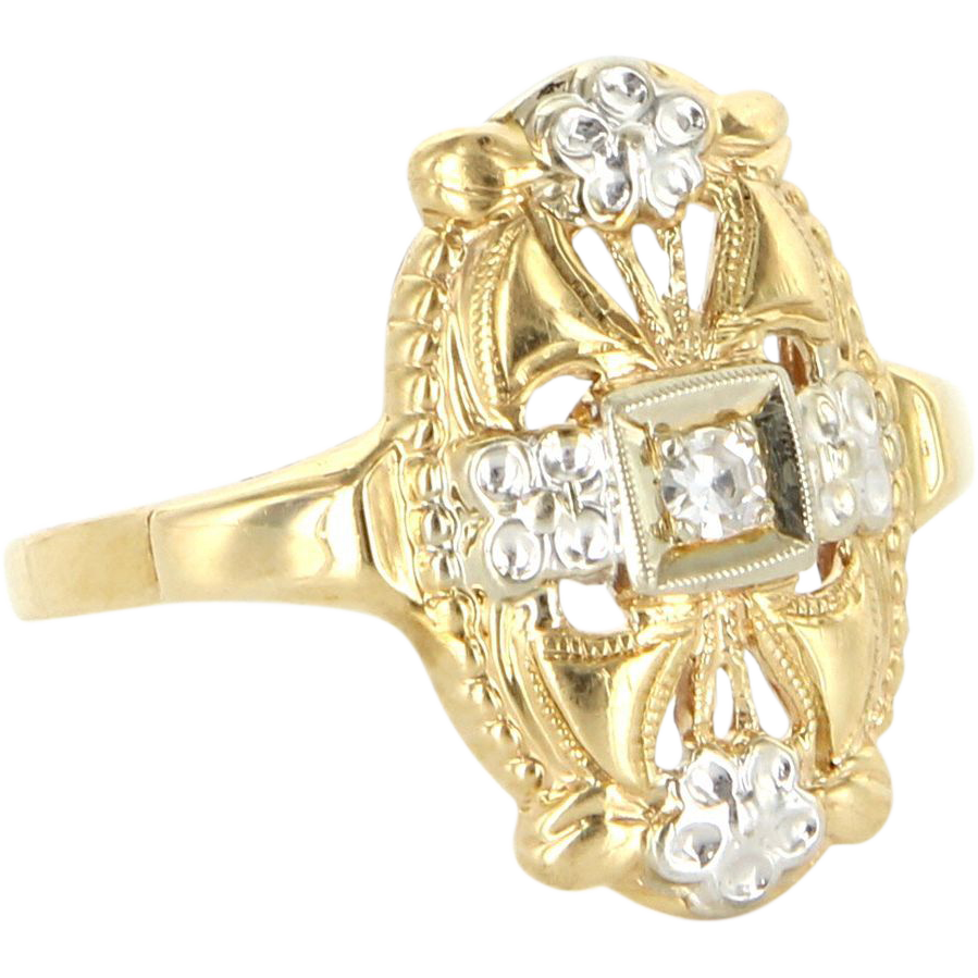 Art Deco 14 Karat Yellow Gold Diamond Embossed Flower Cocktail Ring