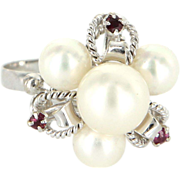 Vintage 14 Karat White Gold Cultured Pearl Ruby Cluster Cocktail Ring Estate