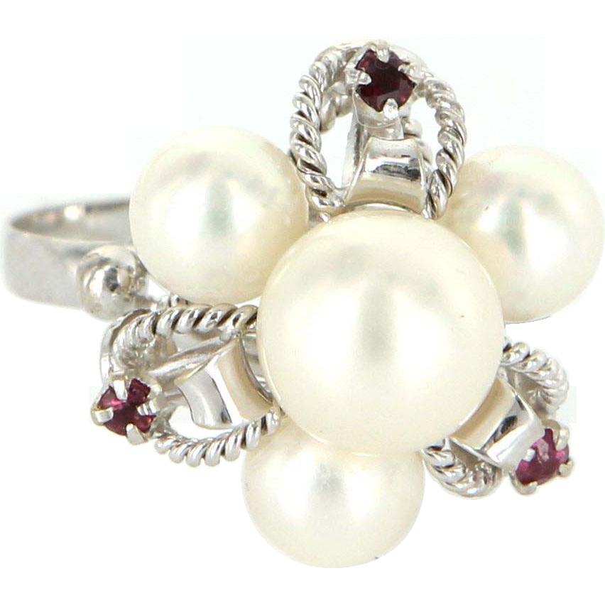 Vintage 14 Karat White Gold Cultured Pearl Ruby Cluster Cocktail Ring Estate