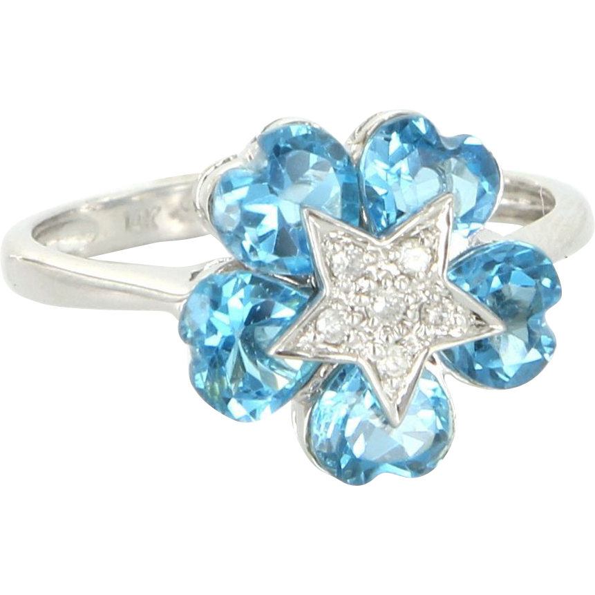 Estate 14 Karat White Gold Diamond Heart Cut Blue Topaz Cocktail Ring