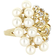 Vintage 10 Karat Yellow Gold Diamond Cultured Pearl Cocktail Ring Fine Jewelry