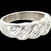 Vintage 14 Karat White Gold Diamond Wedding Band Stack Ring Sz 8 Estate Jewelry