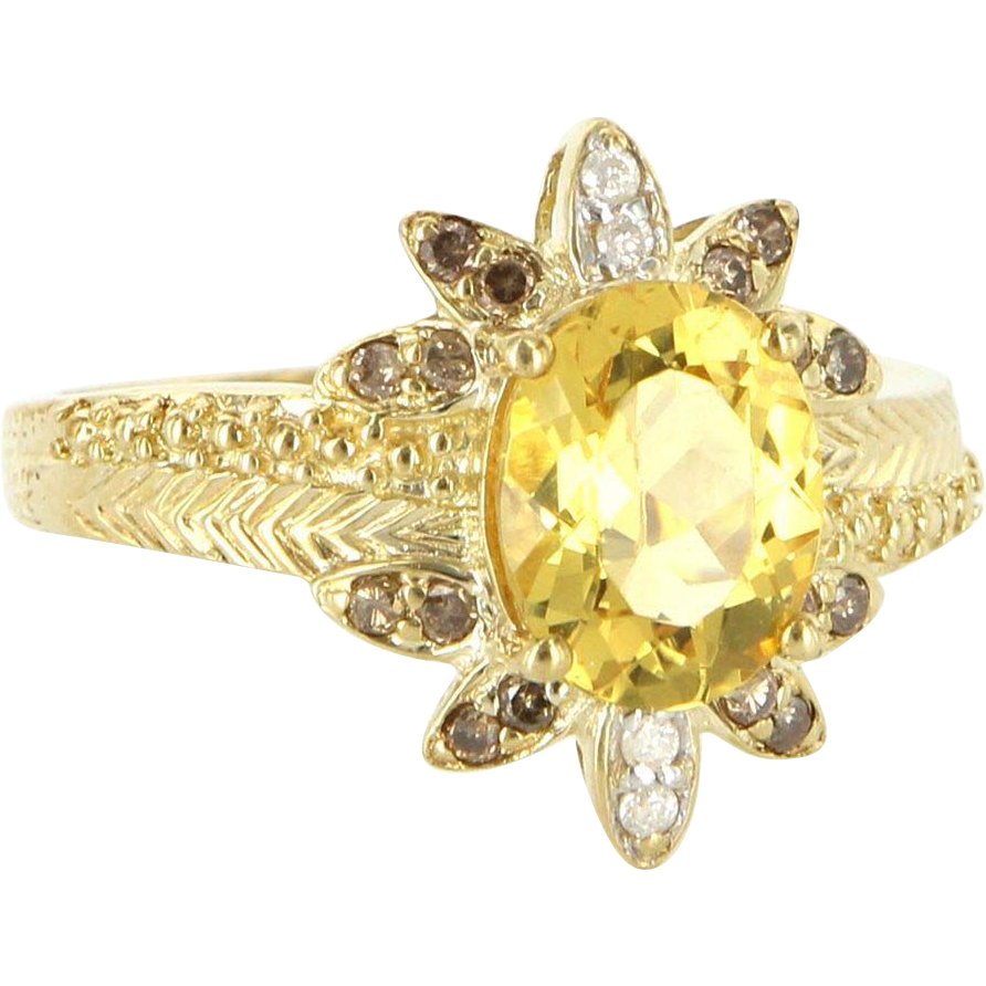 Estate 10 Karat Yellow Gold Citrine Diamond Cocktail Ring Fine Jewelry