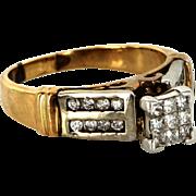 Vintage 10 Karat Yellow White Gold Diamond Square Cocktail Ring Fine Jewelry