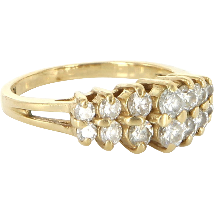 Vintage 14 Karat yellow Gold Diamond Cocktail Ring Fine Estate Jewelry