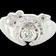 Vintage 14 Karat White Gold Diamond Mens Masonic Shriners Fraternal Ring Estate