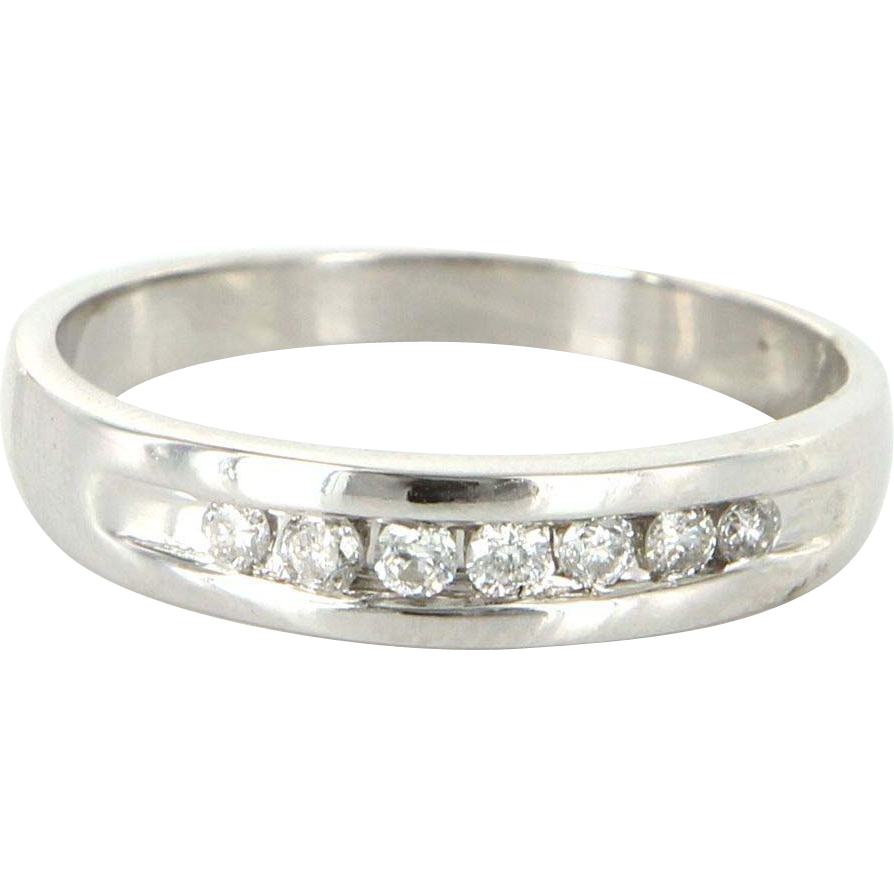 Vintage 10 Karat White Gold Diamond Mens Wedding Band Ring Fine Estate Jewelry