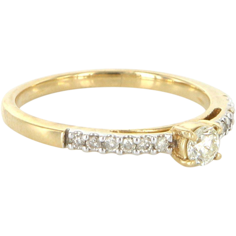 Vintage 14 Karat Yellow Gold Diamond Stack Band Ring Fine Estate Jewelry