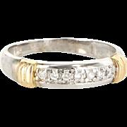 Vintage 14 Karat Yellow White Gold Diamond Wedding Stack Band Ring Estate Sz 8