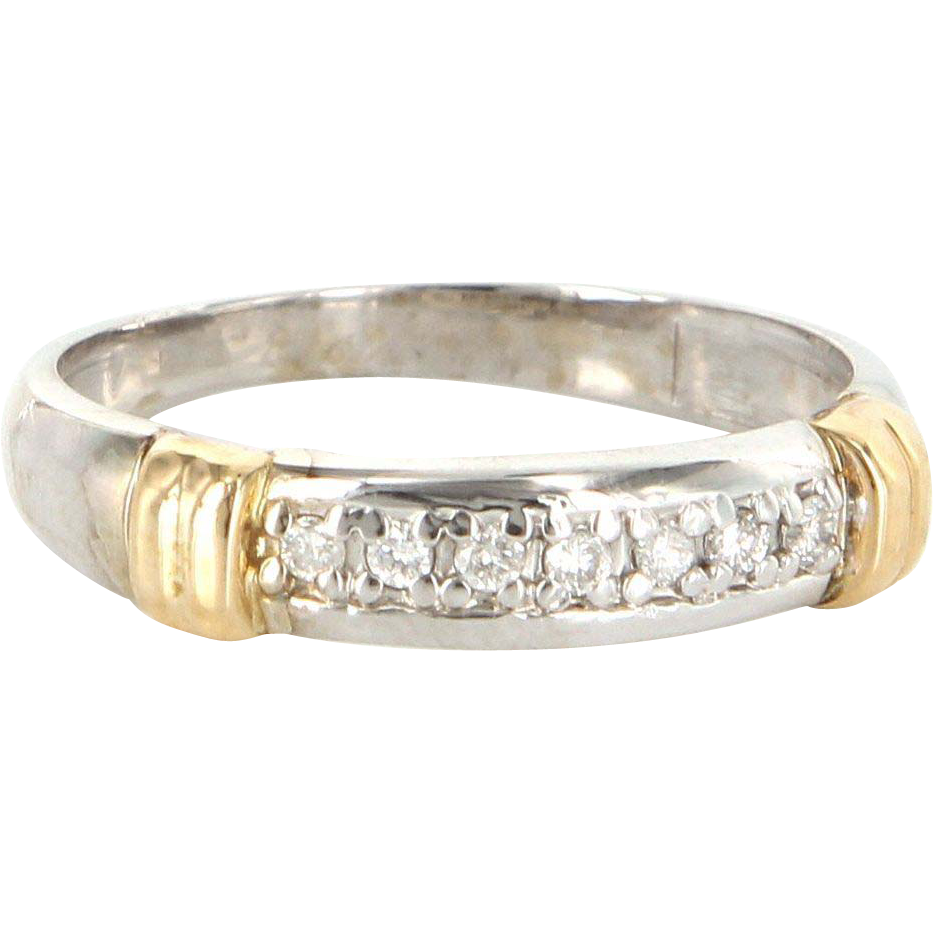 Vintage 14 Karat Yellow White Gold Diamond Wedding Stack Band Ring Estate Sz 8