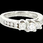 Vintage 14 Karat White Gold Diamond Three Stone Trilogy Wedding Ring Bridal