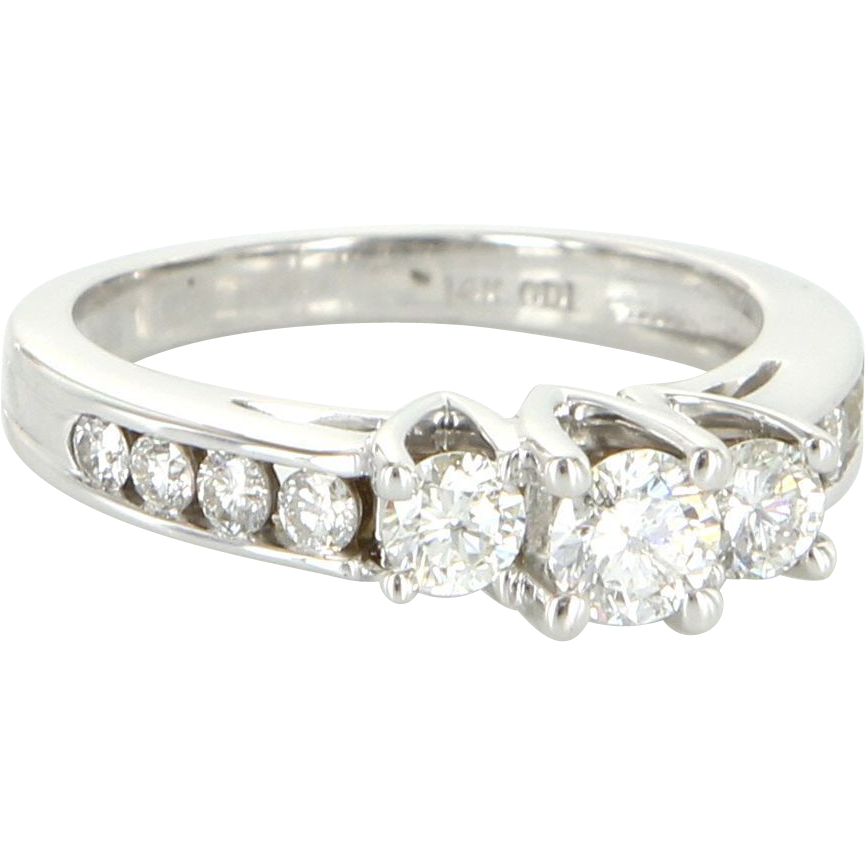 Vintage 14 Karat White Gold Diamond Three Stone Trilogy Wedding Ring Bridal
