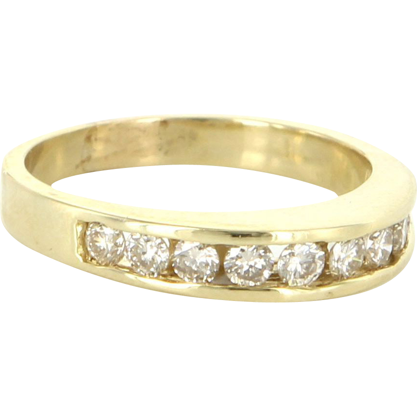 Vintage 14 Karat Yellow Gold Diamond Dome Stack Band Ring Sz 6.25 Estate Jewelry