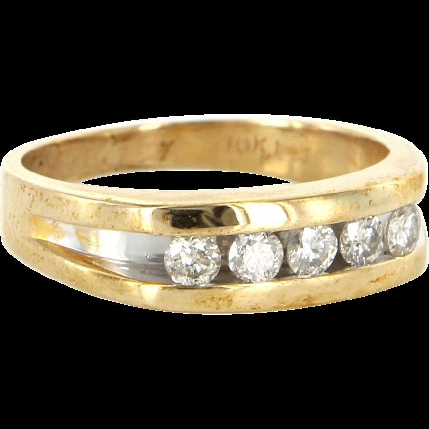 Vintage 10 Karat Yellow Gold Diamond Mens Wedding Ring Band Sz 9.5 Estate
