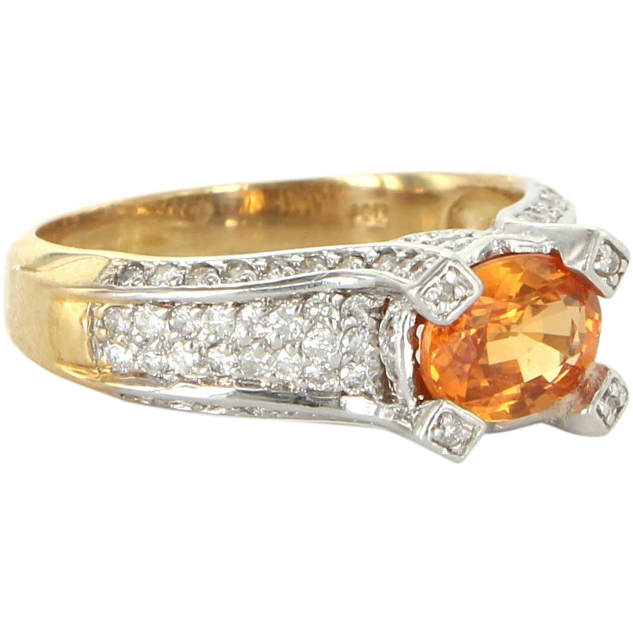 Vintage 14 Karat Yellow Gold Diamond Citrine Cocktail Ring Fine Estate Jewelry