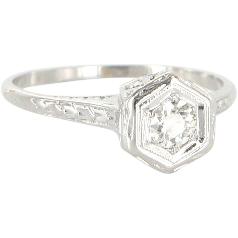 Art Deco Vintage 14 Karat White Gold Diamond Filigree Engagement Ring