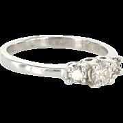 Vintage 10 Karat White Gold Diamond Trilogy Right Hand Ring Fine Bridal Jewelry