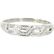 Vintage Art Deco 900 Platinum Diamond Key Pattern Wedding Stack Band Ring Estate Jewelry