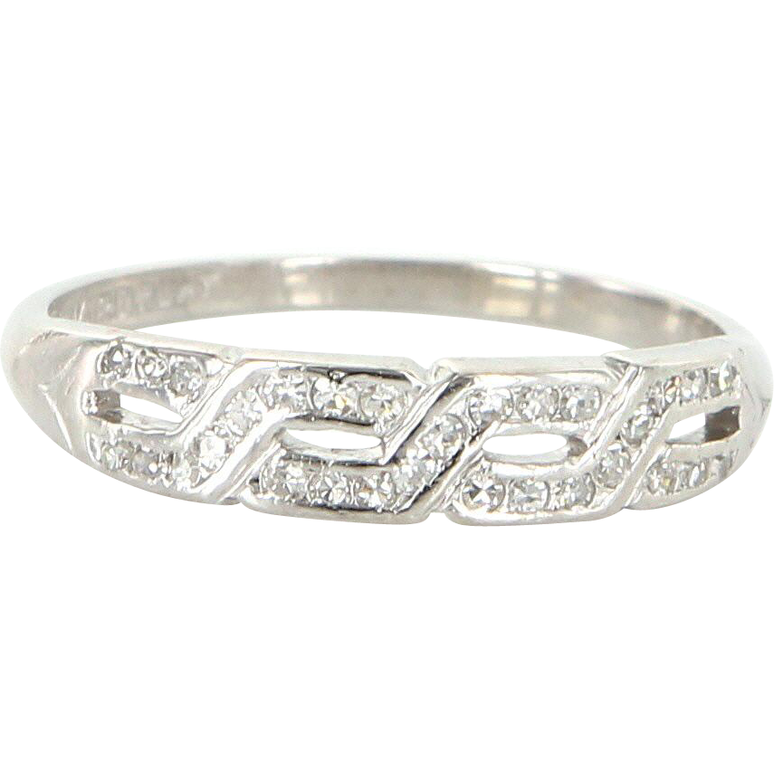 Vintage Art Deco 900 Platinum Diamond Key Pattern Wedding Stack Band Ring Estate Jewelry