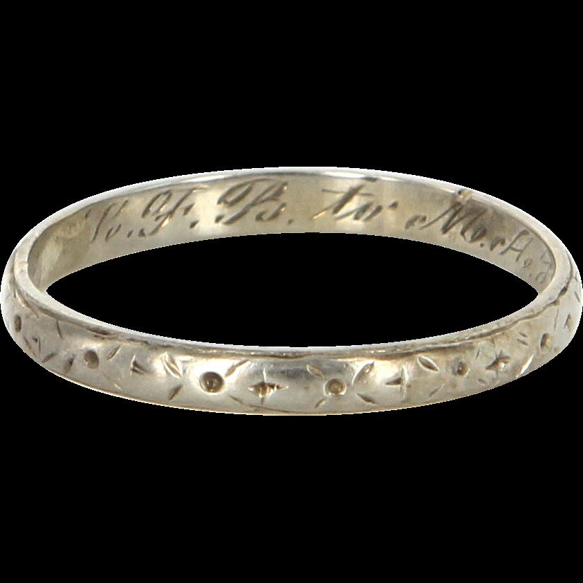 Art Deco 14 Karat White Gold Wedding Stack Band Ring Vintage Estate Jewelry