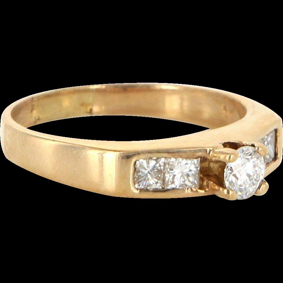 Vintage 14 Karat Yellow Gold Diamond Wedding Stack Band Ring Fine Estate Jewelry