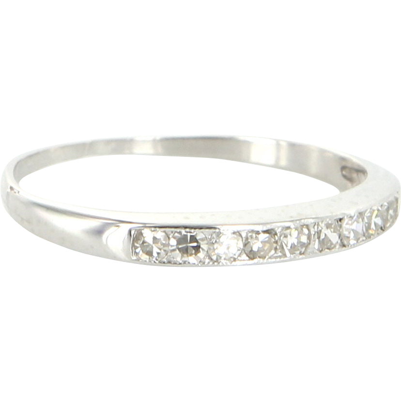 Art Deco 900 Platinum White Sapphire Wedding Stack Band Ring Bridal Sz 6 Heirloom