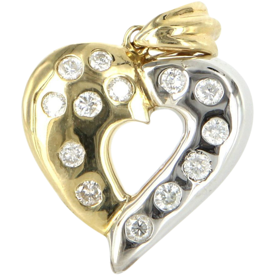 Vintage Two Tone 14 Karat Yellow White Gold Diamond Heart Pendant Fine Jewelry