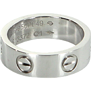 Cartier 950 Platinum Love Ring Sz 49 US 4 3/4 Estate Fine Jewelry Pre Owned